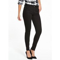 V by Very Denni Mid Rise Skinny Jean, Black, Size 8, Inside Leg Regular, Women