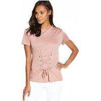 V by Very Corset Tshirt, Blush, Size 24, Women