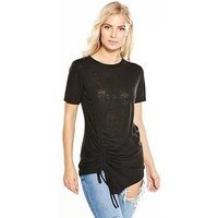 V by Very Ruched Drawcord T-shirt - Black, Black, Size 14, Women