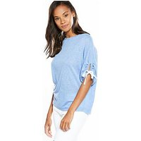 V by Very Tie Ruched Sleeve Snit Top, Soft Blue, Size 8, Women