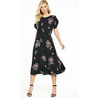 V by Very Fluted Sleeve Midi Dress, Black Floral, Size 10, Women