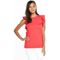 V by Very Ruffle Sleeve Cotton T-shirt - Hot Pink, Hot Pink, Size 18, Women
