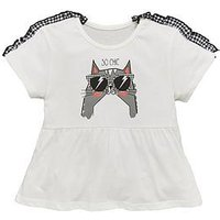 Mini V by Very Girls Gingham Cat Ruffle Tee, Black/White, Size Age: 3-6 Months, Women