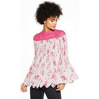 V by Very Lace Yoke Pleated Blouse, Print, Size 14, Women