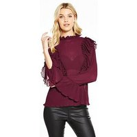 V by Very Ruffle Crinkle High Neck Blouse, Plain, Size 10, Women