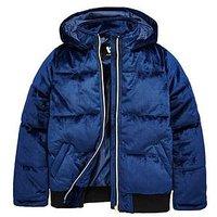 V by Very Velvet Padded Coat, Navy, Size Age: 9 Years, Women