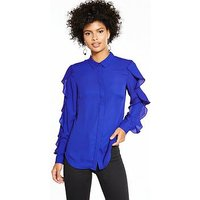 V by Very Ruffle Sleeve Blouse - Electric Blue, Electric Blue, Size 10, Women