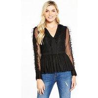 V by Very Lace Spot and Mesh V Neck Blouse, Black, Size 10, Women