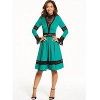 Myleene Klass Lace Panel Dress, Emerald Green, Size 8, Women