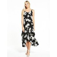 AX Paris Frill Front Maxi Dress, Black, Size 8, Women