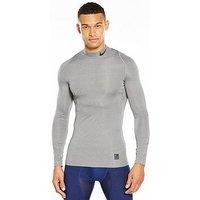 Nike Pro Mock Neck Compression Mock Long Sleeve Training Top, Carbon Heather/Black, Size Xl, Men