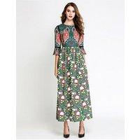Comino Couture Multi Print Flamingo Maxi Dress