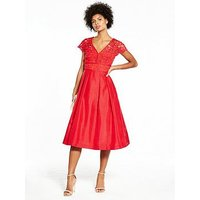 V By Very Lace Top Prom Dress - Red