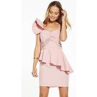 V by Very Frill One Shoulder Mini Dress, Blush, Size 16, Women
