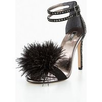Carvela Glenn Np Pom Pom Heeled Sandal, Black, Size 8, Women
