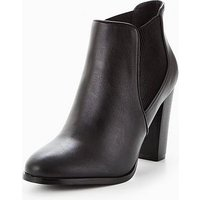 V by Very Jessie Heeled Chelsea Boot Black, Black, Size 7, Women