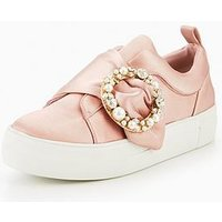 V by Very Yasmin Embellished Trainer Pink, Pink, Size 3, Women