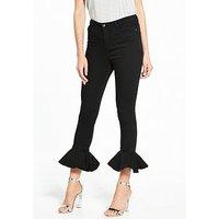 V by Very Frill Hem Skinny Jean, Black, Size 12, Women