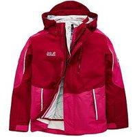 Jack Wolfskin Crosswind 3in1 Jacket, Ruby, Size 3-4 Years, Women