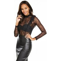 V by Very LACE RUFFLE SHEER TOP, Black, Size 20, Women