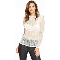 V by Very Lace Ruffle Sheer Top , Ivory, Size 18, Women