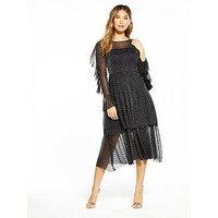 V by Very POLKA DOT MESH FRILL DRESS, Black, Size 16, Women