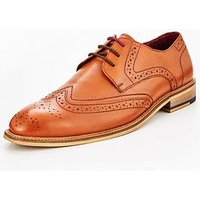 Unsung Hero Unsung Hero Carter Brogue Leather Shoe - Tan, Tan, Size 7, Men
