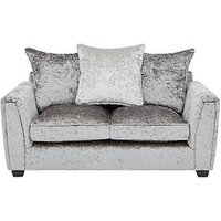 Product photograph showing Glitz 2 Seater Fabric Scatter Back Sofa - Grey Silver Black Pewter