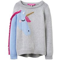 Joules Girls Geegee Unicorn Knitted Jumper, Grey, Size Age: 5 Years, Women