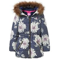 Joules Girls Belmont Print Waisted Padded Coat, Navy Print, Size 11-12 Years, Women