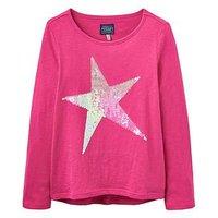 Joules Girls Raya Sequin Star T Shirt, Fuchsia, Size Age: 4 Years, Women