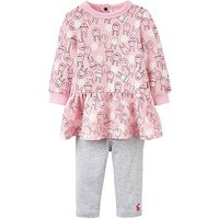 Joules Baby Girls Sylvie Dress And Legging Outfit, Rose Pink, Size 12-18 Months