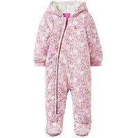 Joules Baby Girls Rabbit Print Snug Jersey Pramsuit, Rose Pink, Size 9-12 Months