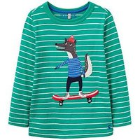 Joules Boys Jack Wolf Printed T Shirt, Green, Size 1 Year