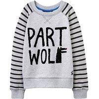 Joules Boys Artie Printed Sweatshirt, Grey Marl, Size 6 Years
