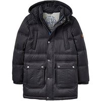 Joules Boys Brampton Longline Padded Parka, Black, Size Age: 5 Years