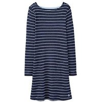 Joules Girls Marnie Stripe Shift Dress, Navy, Size 5 Years, Women