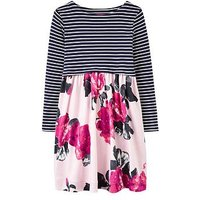 Joules Girls Layla Print Mix Dress, Pink Floral, Size 1 Year, Women