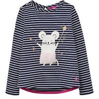 Joules Girls Ava Mouse Applique T Shirt, Navy Stripe, Size Age: 5 Years, Women