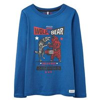 Joules Boys Wolf v Bear Printed T Shirt, Blue, Size 6 Years