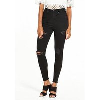 V by Very Ella High Waist Ripped Skinny Jean, Black, Size 12, Women