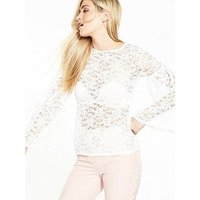 V by Very All Over Lace Long Sleeve Top - Ivory, Ivory, Size 18, Women