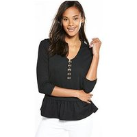 V by Very Hook And Eye V Neck Peplum Top - Black, Black, Size 12, Women