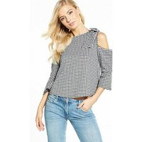 V by Very Gingham Bow Cold Shoulder Top, Gingham, Size 10, Women