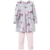 Joules Baby Girls Christina Dress Outfit, Grey Marl, Size 6-9 Months