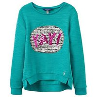 Joules Girls Mart Screenprint Sequin Sweatshirt, Green, Size Age: 1 Year, Women