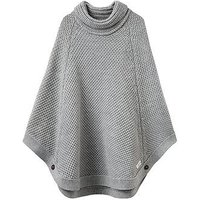 Joules Girls Tess Knitted Poncho, Grey Marl, Size Age: L, Women