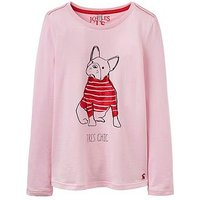 Joules Girls Bessie Bulldog Print Long Sleeve T Shirt, Rose Pink, Size Age: 9-10 Years, Women