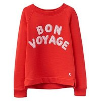 Joules Girls Mart Screenprint Sequin Sweatshirt, Red, Size Age: 9-10 Years, Women