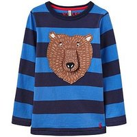 Joules Boys Chomp Applique Long Sleeve T-Shirt, Navy Stripe, Size 1 Year